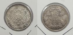 World Coins - GERMANY: 1916-D 1/2 Mark
