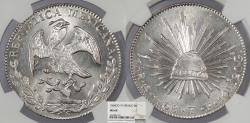 World Coins - MEXICO 1868-Go YF 8 Reales NGC MS-64
