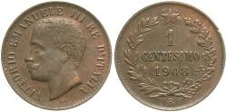 World Coins - ITALY: 1908-R 1 Centesimo