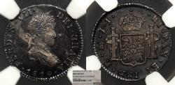 World Coins - MEXICO Ferdinand VII 1819-Mo JJ 1/2 Real NGC UNC