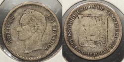 World Coins - VENEZUELA: 1919 1/4 Bolivar