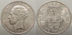 World Coins - BELGIUM: 1940 50 Francs