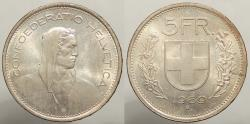 World Coins - SWITZERLAND: 1969-B 5 Francs