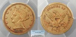 Us Coins - 1865 S Coronet 2 1/2 Dollars  PCGS VF-25