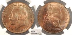 World Coins - GREAT BRITAIN George V 1917 Penny NGC MS-65 RB