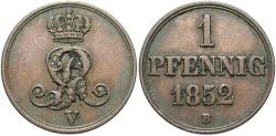 World Coins - GERMAN STATES: Hannover 1852-B 1 Pfennig