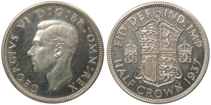 World Coins - GREAT BRITAIN George VI 1937 Halfcrown Proof