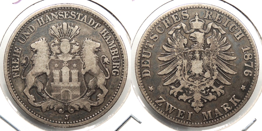 World Coins - GERMAN STATES: Hamburg 1876-J 2 Mark