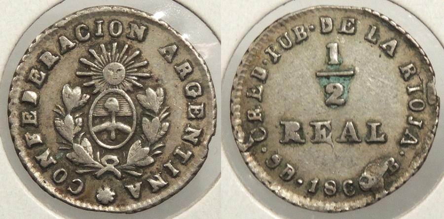 World Coins - ARGENTINA: La Rioja 1860-B 1/2 Real #WC63452