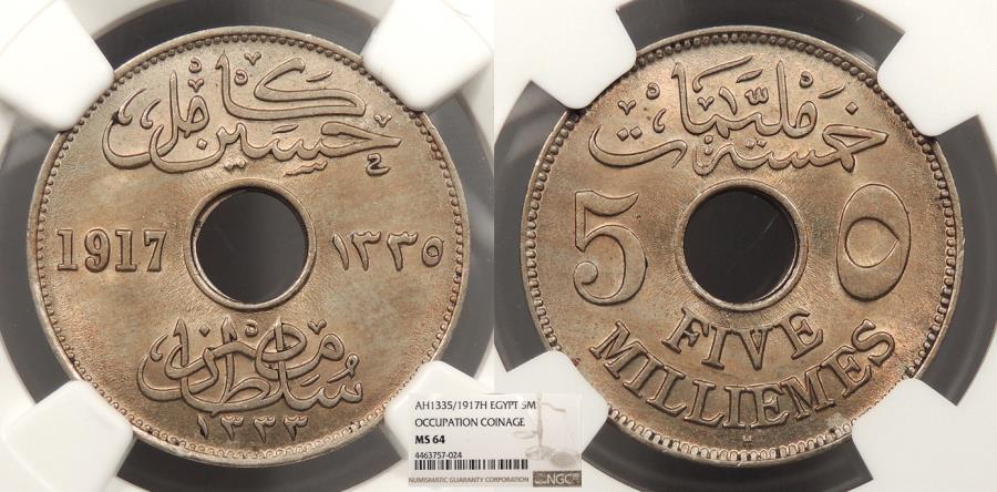 World Coins - EGYPT Husein Kamil I 1917 / AH 1335-H 5 Milliemes NGC MS-64