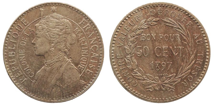 World Coins - MARTINIQUE 1897 50 Centimes Choice AU