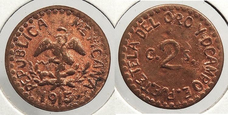 World Coins - MEXICO: Puebla 1915 Restrike 2 Centavos