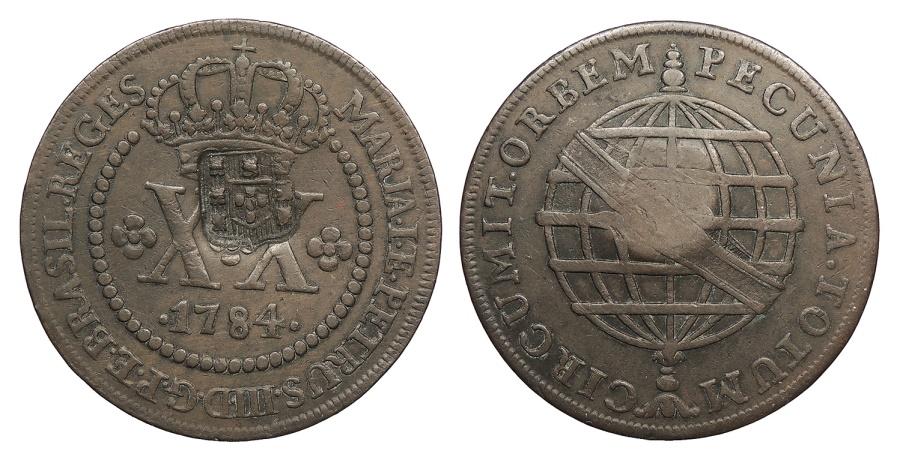 World Coins - BRAZIL Joao, Prince Regent. ND (1809) on 1784 40 Reis EF