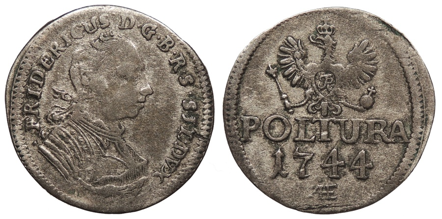 World Coins - GERMAN STATES Prussia, for Silesia Friedrich II, King of Prussia 1744-AE Poltura Near VF
