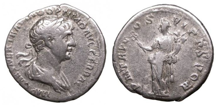 Ancient Coins - Trajan 98-117 A.D. Denarius Rome Mint Good Fine