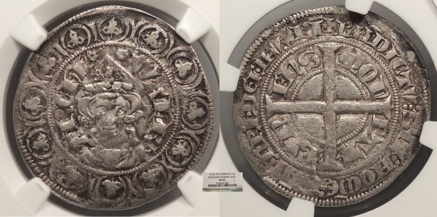 World Coins - GERMAN STATES Cologne (Koln)  Bishop Walram von Julich 1332-1349 Tournose NGC VF-35