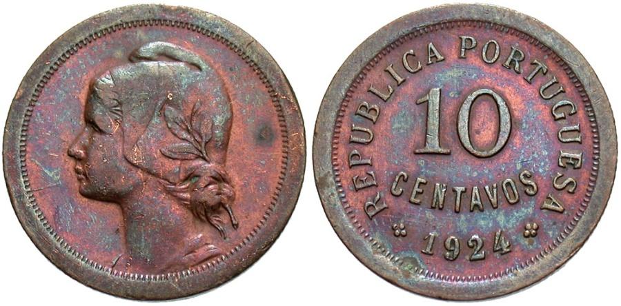 World Coins - PORTUGAL: 1924 10 Centavos