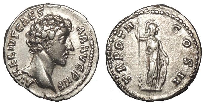 Ancient Coins - Marcus Aurelius 161-180 A.D. Denarius Rome Mint Good VF