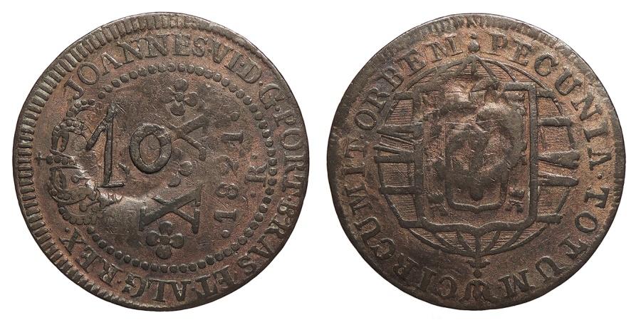 World Coins - BRAZIL Estado de Grao Para e Rio Negro Pedro II ND (1835) 10 Reis EF