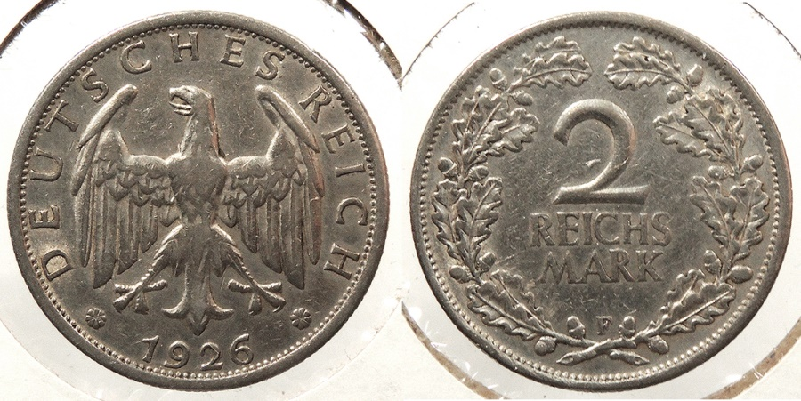 World Coins - GERMANY: 1926-F 2 Reichsmark