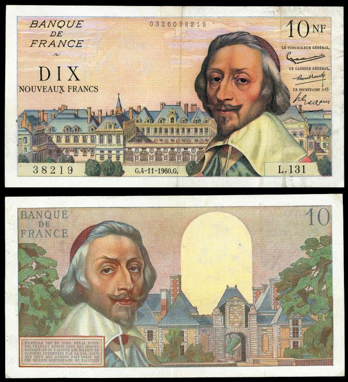 World Coins - FRANCE Banque de France 4 November 1960 10 New Francs VF