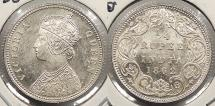 World Coins - INDIA: British India 1862-C 1/4 Rupee