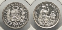 World Coins - PERU: 1912-FG 1/2 Dinero