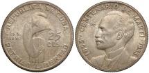 World Coins - CUBA: 1953 25 Centavos