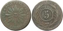 World Coins - URUGUAY: 1854 5 Centesimos