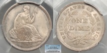 Us Coins - 1837 Seated Liberty; No Stars; Large Date 10 Cents (Dime) PCGS MS-64