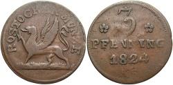 World Coins - GERMAN STATES: Rostock 1824 3 Pfennig