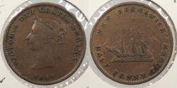 World Coins - CANADA: New Brunswick 1843 Halfpenny Token