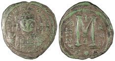 Ancient Coins - Justinian I 527-565 A.D. Follis (40 Nummi) Constantinople Mint VF