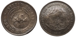 World Coins - BRAZIL Minas Gerais Sabara or San Luzia? Uncertain Church ND (Circa 1910-1913) AE Counterstamped 20 Reis