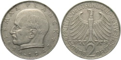 World Coins - GERMANY (WEST): 1957 G 2 Mark