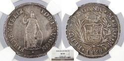 World Coins - PERU 1828-LIMA JM 2 Reales NGC AU-50