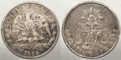 World Coins - MEXICO: 1885-Go R 50 Centavos