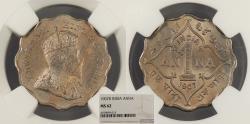 World Coins - INDIA Edward VII 1907-B Anna NGC MS-62