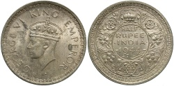 World Coins - INDIA: 1944-L 1/2 Rupee