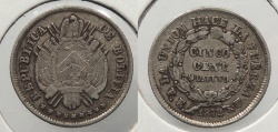 World Coins - BOLIVIA: 1872-PTS FE 5 Centavos