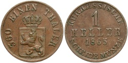 World Coins - GERMAN STATES: Hesse-Cassel 1865 1 Heller
