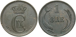 World Coins - DENMARK: 1874 1 Ore