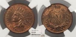Us Coins - 1873 Indian Head 1 Cent Open 3 NGC MS-64 RB