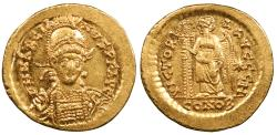 Ancient Coins - Marcian 450-457 A.D. Solidus Constantinople Mint Choice EF