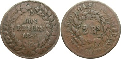World Coins - ARGENTINA: Buenos Aires Buenos Aires 1860 2 Reales