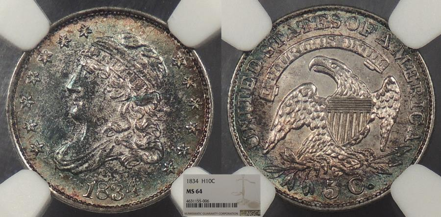 US Coins - 1834 Capped Bust 5 Cent (Silver) NGC MS-64