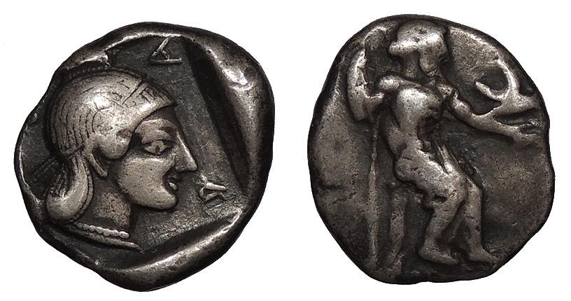 Ancient Coins - Arkadia Kleitor Arkadian League Early 5th Century B.C. Hemidrachm VF