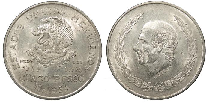 World Coins - MEXICO Estados Unidos 1954 5 Pesos UNC