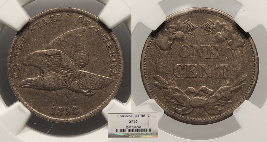 US Coins - 1858  Flying Eagle 1 Cent Small letters NGC EF-40