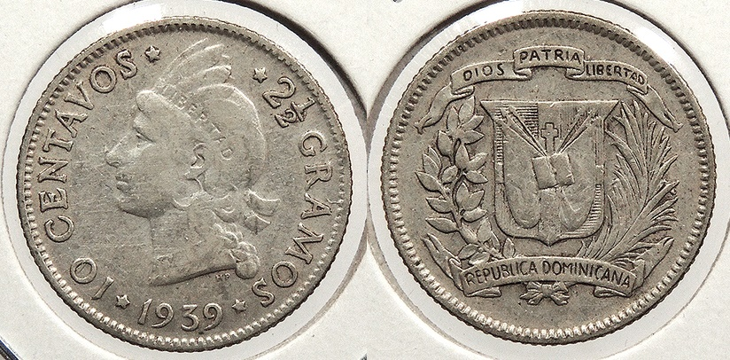 World Coins - DOMINICAN REPUBLIC: 1939 Key date 10 Centavos